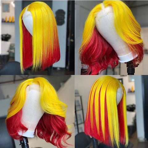 Gradient Yellow with Red Lace Front Bob Wig