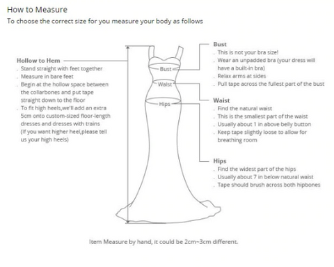 Wedding Gown Size Measurement