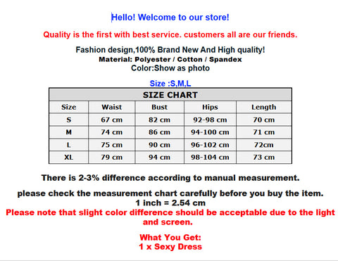 Pencil Dress For Women Size Chart