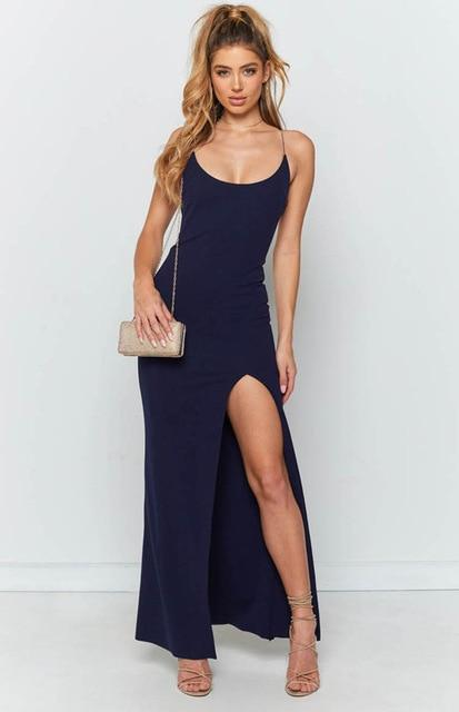 Bodycon Sexy Summer Maxi Dress For Women Ladies Dress BANFIY USA Navy Blue L