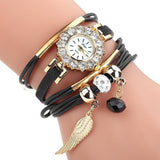 Elite Women Watch Bracelet Quartz Luxury Flower Design women watch BANFIY USA Black