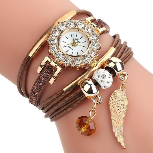 Elite Women Watch Bracelet Quartz Luxury Flower Design women watch BANFIY USA Brown