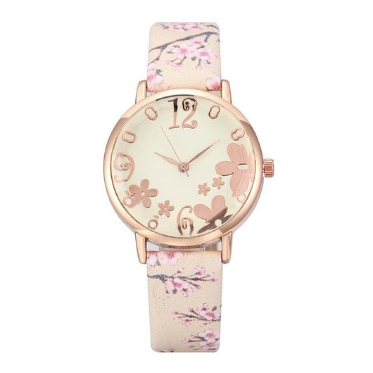 Embossed Flowers Quartz Watch women watch BANFIY USA Beige