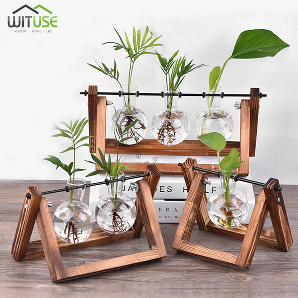Flower Pot Tabletop Wooden Vase For Home Office Wedding Decor home decoration BANFIY USA
