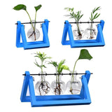 Flower Pot Tabletop Wooden Vase For Home Office Wedding Decor home decoration BANFIY USA Blue 3pcs
