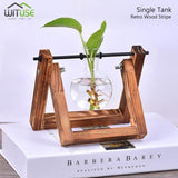 Flower Pot Tabletop Wooden Vase For Home Office Wedding Decor home decoration BANFIY USA Retro 1 Glass