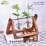 Flower Pot Tabletop Wooden Vase For Home Office Wedding Decor home decoration BANFIY USA Retro 2 Glasses