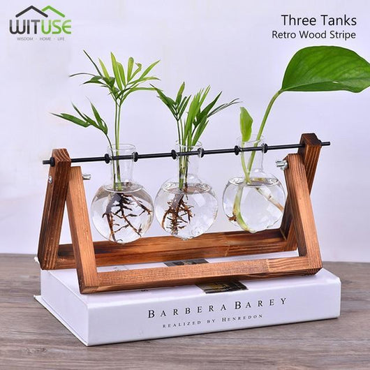 Flower Pot Tabletop Wooden Vase For Home Office Wedding Decor home decoration BANFIY USA Retro 3 Glasses