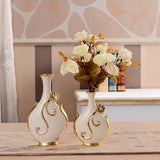 Gold Plated Porcelain Vase With Modern Ceramic Flower For Home Decoration home decoration BANFIY USA