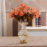 Gold Plated Porcelain Vase With Modern Ceramic Flower For Home Decoration home decoration BANFIY USA A n 2Orange Roses