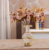 Gold Plated Porcelain Vase With Modern Ceramic Flower For Home Decoration home decoration BANFIY USA A n 2Pink Roses