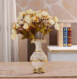 Gold Plated Porcelain Vase With Modern Ceramic Flower For Home Decoration home decoration BANFIY USA A n 2White Roses