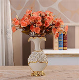Gold Plated Porcelain Vase With Modern Ceramic Flower For Home Decoration home decoration BANFIY USA Big A n 3Orange Rose