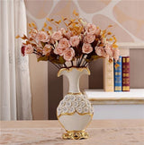 Gold Plated Porcelain Vase With Modern Ceramic Flower For Home Decoration home decoration BANFIY USA Big A n 3Pink Roses