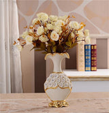 Gold Plated Porcelain Vase With Modern Ceramic Flower For Home Decoration home decoration BANFIY USA Big A n 3White Roses