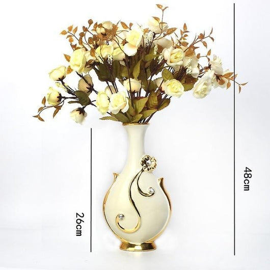 Gold Plated Porcelain Vase With Modern Ceramic Flower For Home Decoration home decoration BANFIY USA Big C n 3White Roses