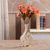 Gold Plated Porcelain Vase With Modern Ceramic Flower For Home Decoration home decoration BANFIY USA C n 1Orange Rose