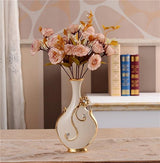 Gold Plated Porcelain Vase With Modern Ceramic Flower For Home Decoration home decoration BANFIY USA C n 1Pink Rose