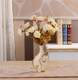 Gold Plated Porcelain Vase With Modern Ceramic Flower For Home Decoration home decoration BANFIY USA C n 1White Rose