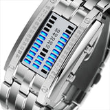 LED Men Watch for Creative and Fashion with Luxury Brand 50M Waterproof Wristwatch Men Watch Banfiyusa SilverSmall