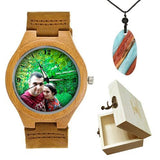 Lovers UV Printing Wooden Watches Photo watch BANFIY USA brown watch box gift