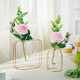 Luxury Glass Flower Pot Gold Plated Iron Vase for Home or Wedding Decoration home decoration BANFIY USA