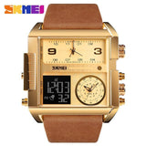 Men Wrist Watch Luxury Brand Military shape Men Watch Banfiyusa Golden Brown Belt
