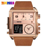 Men Wrist Watch Luxury Brand Military shape Men Watch Banfiyusa Rose Gold Brown