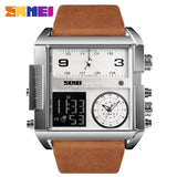 Men Wrist Watch Luxury Brand Military shape Men Watch Banfiyusa Silver Brown Belt
