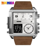 Men Wrist Watch Luxury Brand Military shape Men Watch Banfiyusa Silver Coffee Belt