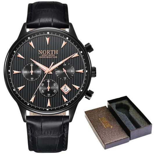 Men Wristwatches Auto Date Chronograph Quartz Wrist Watch Men Men Watch Banfiyusa Black