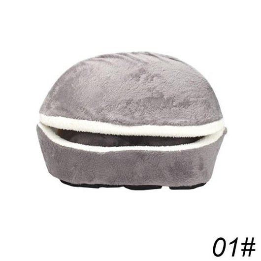 Pet Cat Sleeping Bag Hamburger Dog House Pet Animal Accessories BANFIY USA gray 45x32x32cm