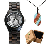 Photo Print Bamboo Wooden Lovers Watches Photo watch BANFIY USA black watch gift box