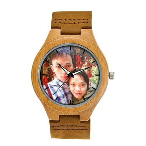 Photo Print Bamboo Wooden Lovers Watches Photo watch BANFIY USA brown watch