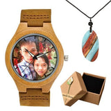 Photo Print Bamboo Wooden Lovers Watches Photo watch BANFIY USA brown watch box gift