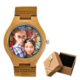 Photo Print Bamboo Wooden Lovers Watches Photo watch BANFIY USA brown watch with box