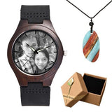 Photo Print Bamboo Wooden Lovers Watches Photo watch BANFIY USA watch box gift