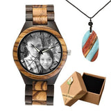 Photo Print Bamboo Wooden Lovers Watches Photo watch BANFIY USA zebra watch box gift