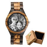 Photo Print Bamboo Wooden Lovers Watches Photo watch BANFIY USA zebra watch with gif