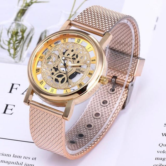Skeleton Style Quartz Wristwatch for Men Women watch BANFIY USA Gold