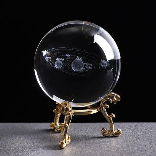 Solar System Glass globe Ball 3D Planets Desk Decoration home decoration BANFIY USA 6 CM with gold base