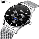 Ultra Thin and Slim Waterproof Quartz wristwatch For Men Men Watch Banfiyusa black silver