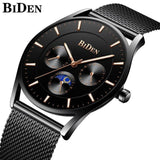 Ultra Thin and Slim Waterproof Quartz wristwatch For Men Men Watch Banfiyusa full black