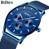 Ultra Thin and Slim Waterproof Quartz wristwatch For Men Men Watch Banfiyusa full blue