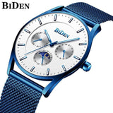 Ultra Thin and Slim Waterproof Quartz wristwatch For Men Men Watch Banfiyusa white blue
