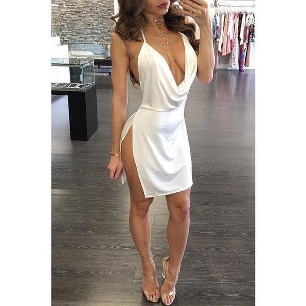 Women Backless V-neck sexy dress for Summer Ladies Dress BANFIY USA White L