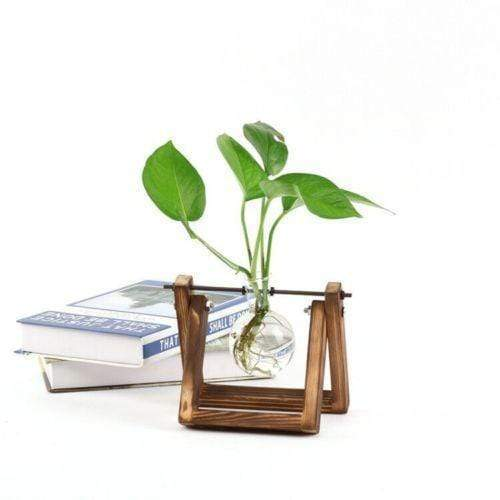 Wooden Stand Glass Flower Pot For Home Decoration home decoration BANFIY USA 1 pot