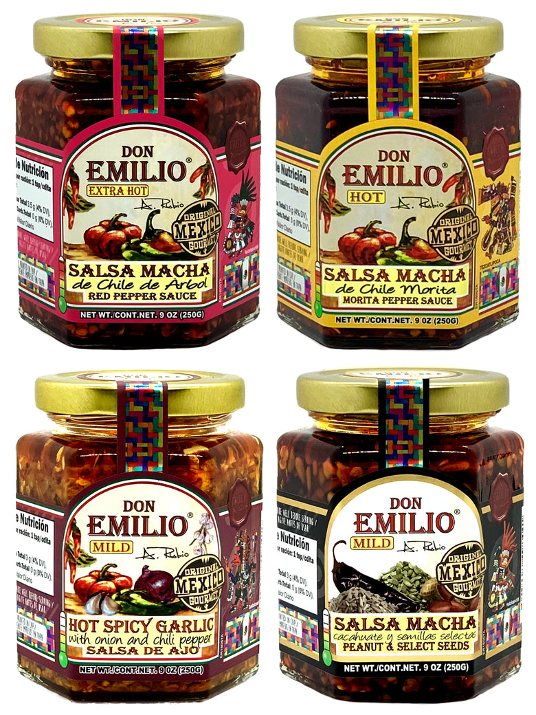 Don Emilio Macha with Peanut & Select Seeds Hot Sauce – MILD