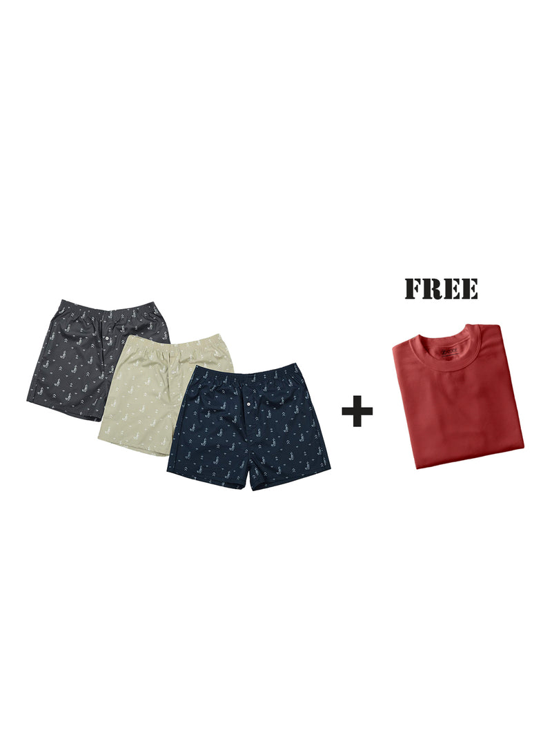 Boxer Shorts Combo (Pack of 3 + Get One Free Tshirt )