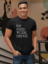 Eat, Sleep, Work, Repeat Print Men Red T-shirt